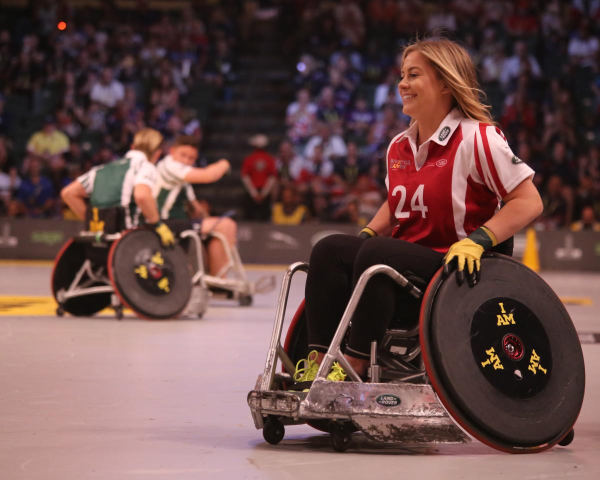 Lady playing sport in a wheelchair